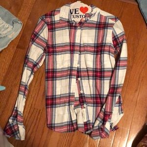 Vintage Flannel  red white and blue